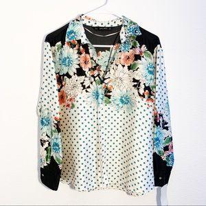Zara | Floral Polka Dot Blouse